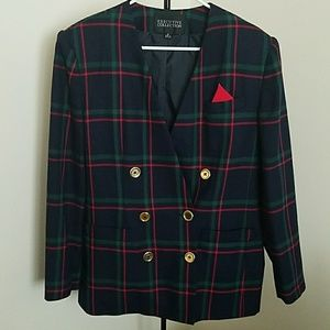 Double breasted vintage plaid blazer